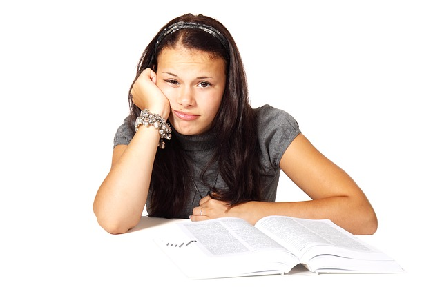 bored girl reading