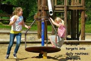 Working speech and language targets into daily routines: a trip to the park.